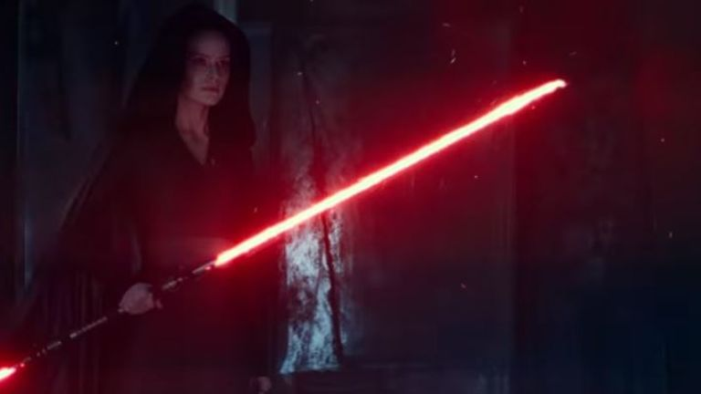 The new footage hints at Rey, played by Daisy Ridley, turned to the dark side. Pic: Disney