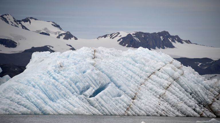An iceberg on the west coast of the Spitsbergen island, in the archipelago of Svalbard, where sicentists discovered microplastics in snow