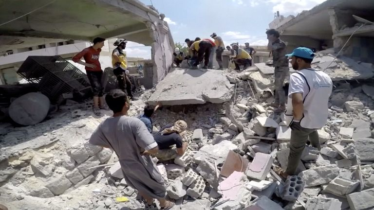 The opposition's Syrian Civil Defence reported airstrikes on several towns in the region