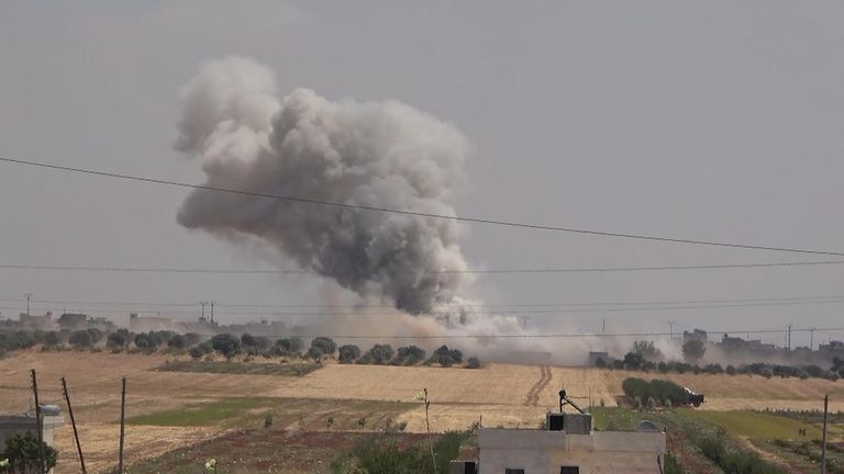 A still from footage said to be of the bombing of Rahman Hospital, Idlib province