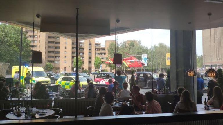 Emergency vehicles were seen outside the gallery. Pic: KACPER KULA
