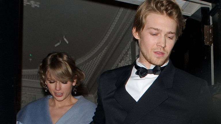 Taylor Swift and Joe Alwyn seen attending the Vogue BAFTA party at Annabel's club in Mayfair on February 10, 2019