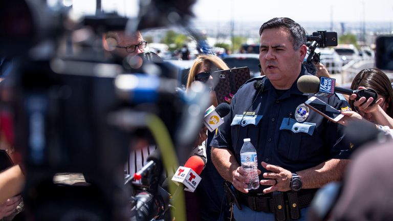 El Paso Police Department Sgt. Robert Gomez briefs media on the shooting
