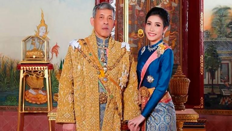 King Maha Vajiralongkorn with Major General Sineenatra Wongvajirabhakdi, the royal noble consort