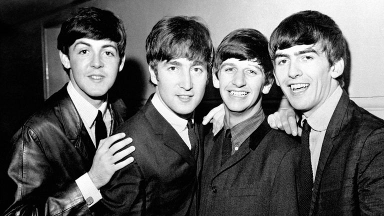 The Beatles in 1963 (L-R) Paul McCartney, John Lennon, Ringo Starr and George Harrison