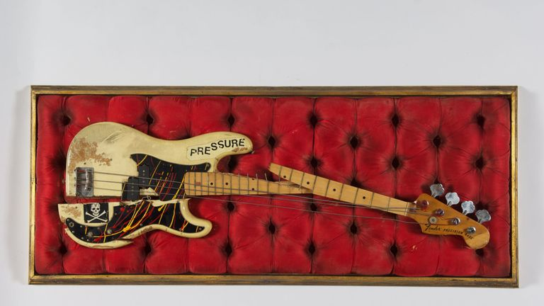 The Clash's Paul Simonon's broken Fender Precision Bass which was smashed on stage at The Palladium in New York on 21 September 1979. Part of The Clash: London Calling, a free exhibit at the Museum Of London from November 15 2019 to spring 2020