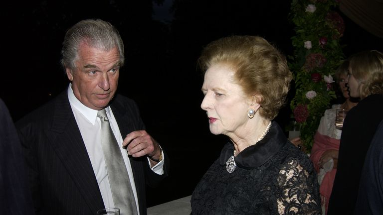 Lord Tim Bell with Margaret Thatcher in 2002