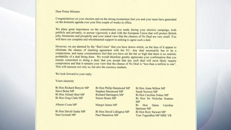 Tory MPs have written to Boris Johnson about a no-deal Brexit