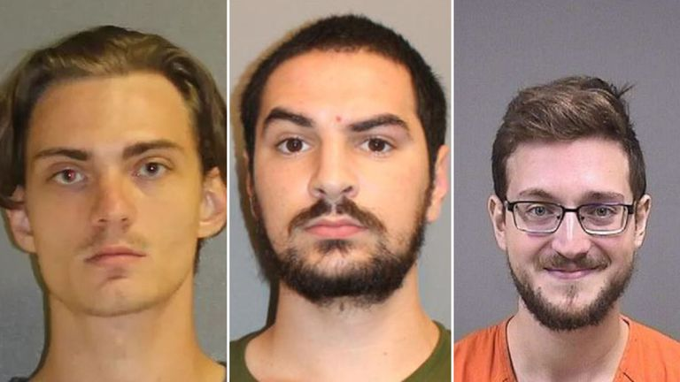 Left to right: Tristan Scott Wix, Brandon Wagschol and James Reardon Jr. Pic: Volusia County Sheriff's Office, Norwalk, CT Police Department, Mahoning County Jail
