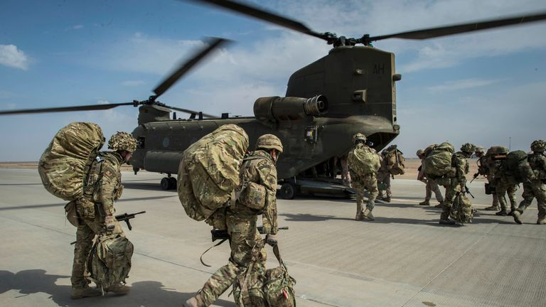 Troops from 7 Force Protection Wing, Royal Air Force Regiment