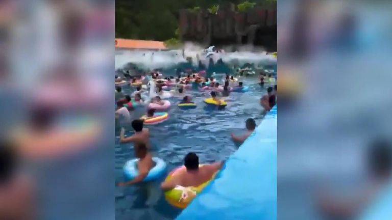 At least 44 people were injured at a water park in northeast China after a wave machine malfunctioned and caused a giant tsunami-like wave.