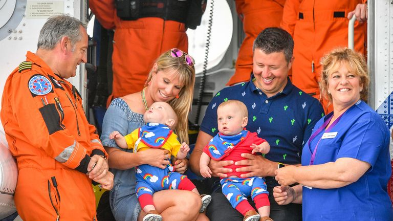 Pictured (left to right) are Chief Crewman Ian Copley, Jennie Powell, Jenson, Ruben, Rich Powell and Midwife Jane Parke