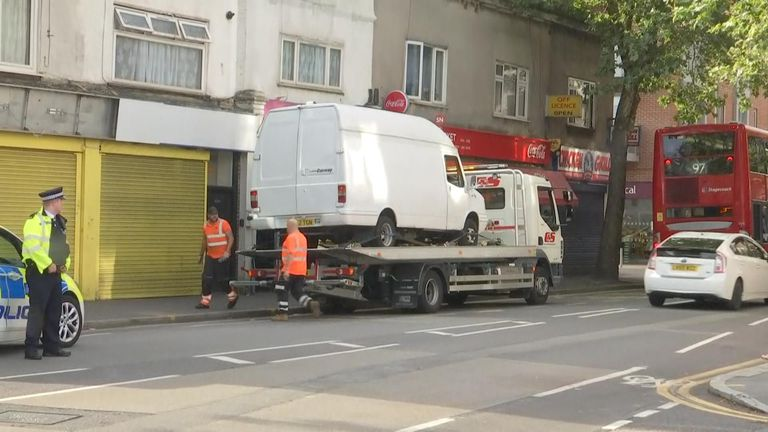Forest Gate: Police remove van involved in machete attack
