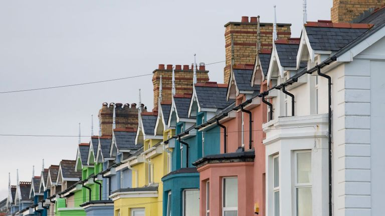 A general view of a row of colourful houses on May 24, 2019 in Borth, United Kingdom