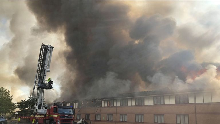 @WMASHART of a fire crew attending the scene as a Holiday Inn next to Junction 10 of the M6 in Walsall has been evacuated after the building went up in flames. PRESS ASSOCIATION Photo. Picture date: Friday August 2, 2019. Photo credit should read: @WMASHART/PA Wire