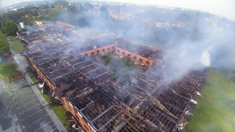 More than 50 firefighters battled the blaze. Pic: Walsall Fire Station