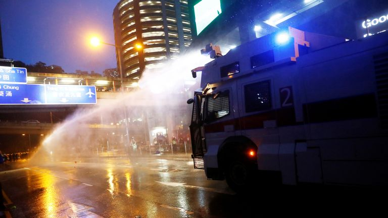 Water cannon in Hong Kong