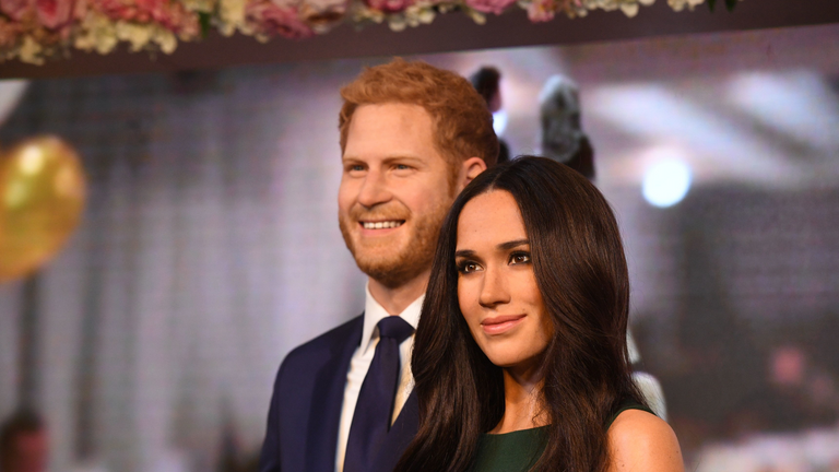 File photo dated 09/05/18 of the waxwork figures of the Duke and Duchess of Sussex. The waxwork of the Duchess of Sussex will separate from Prince Harry to spend more time with her A-list friends, Madame Tussauds has said.