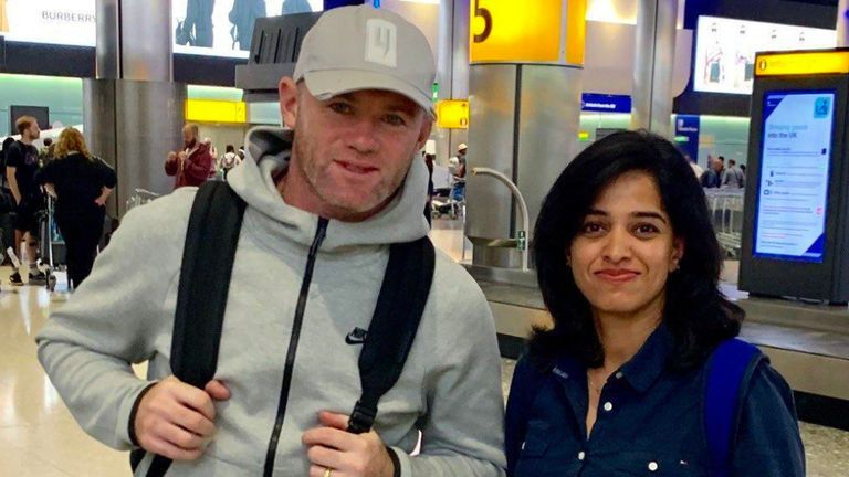 The former England captain touched down at Heathrow