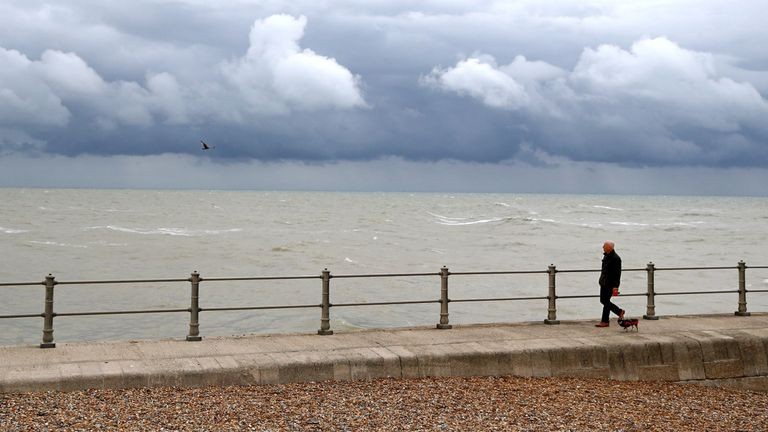 Clouds gathering over Hastings, East Sussex, on Friday