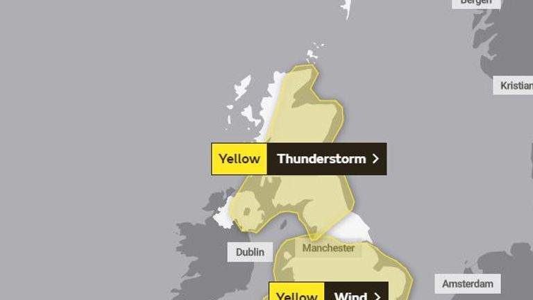 Almost the entire UK is set to be hit by unseasonable weather today. Pic: Met Office