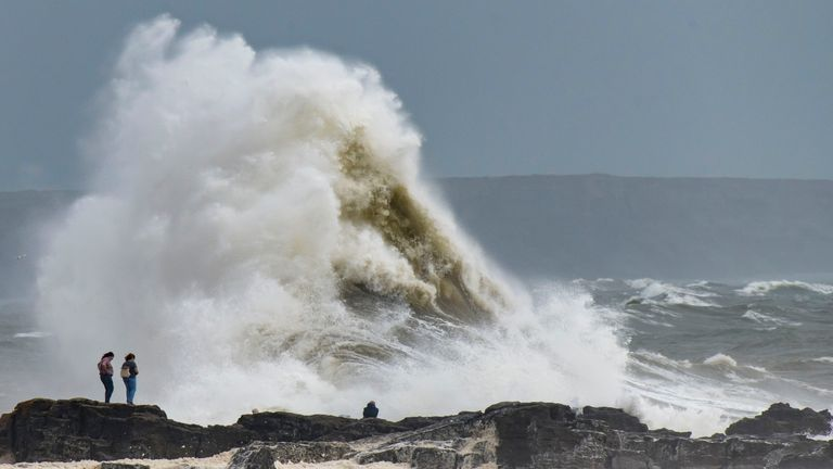 PORTHCAWL, WALES - AUGUST 10: Waves crash against the harbour wall on August 10, 2019 in Porthcawl, Wales. The Met Office have issued a yellow weather warnings for winds of up to 60mph and thunderstorms for large parts of the UK. (Photo by Matthew Horwood/Getty Images)