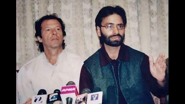 Yaseen Malik (R) is awaiting trial in India