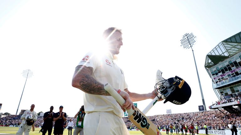 England all-rounder Ben Stokes leaves the field after his match-winning 135no
