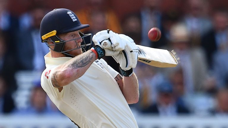 England's Ben Stokes upper-cuts a short delivery during the second Ashes Test at Lord's