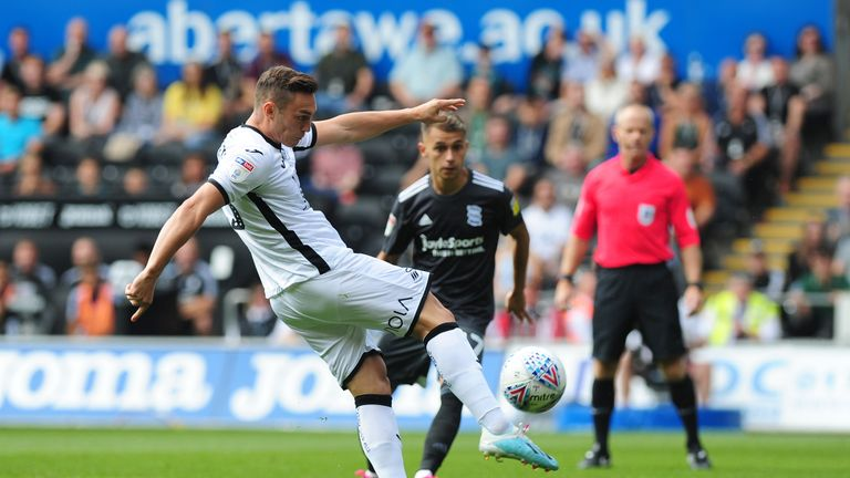 Connor Roberts of Swansea in action during the Sky Bet Championship match against Birmingham