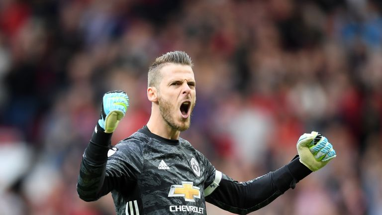 Manchester United stopper David de Gea made seven saves during the 4-0 win over Chelsea