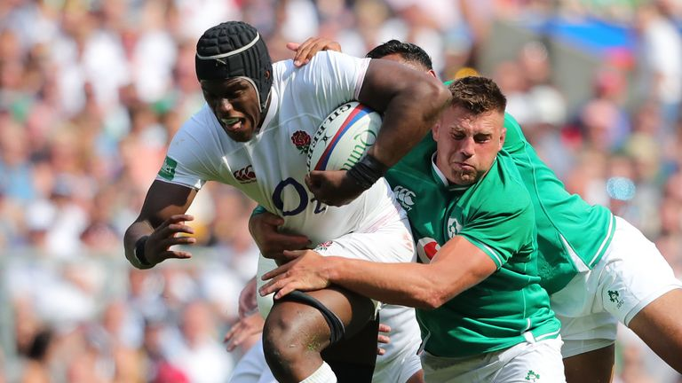 Highlights of the World Cup warm-up match between England and Ireland from Twickenham