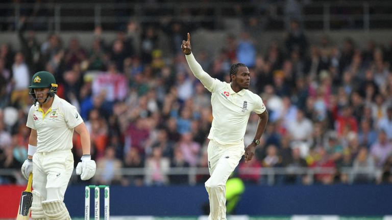 Australia opener Marcus Harris is dismissed by Jofra Archer at Headingley