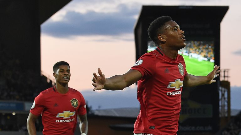 Manchester United's Anthony Martial celebrates his goal against Wolves in August 2019