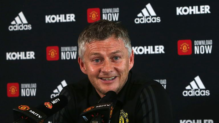 MANCHESTER, ENGLAND - AUGUST 23: (EXCLUSIVE COVERAGE) Manager Ole Gunnar Solskjaer of Manchester Unitedspeaks during a press conference at Aon Training Complex on August 23, 2019 in Manchester, England. (Photo by Matthew Peters/Manchester United via Getty Images)