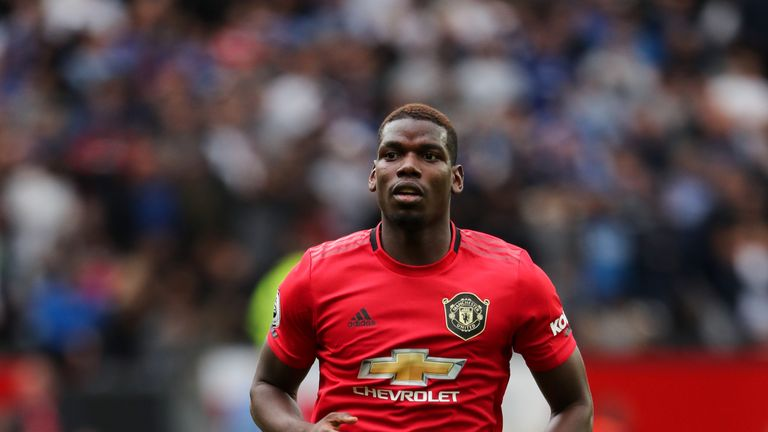 MANCHESTER, ENGLAND - AUGUST 11: Paul Pogba of Manchester United during the Premier League match between Manchester United and Chelsea FC at Old Trafford on August 11, 2019 in Manchester, United Kingdom. (Photo by Matthew Ashton - AMA/Getty Images)