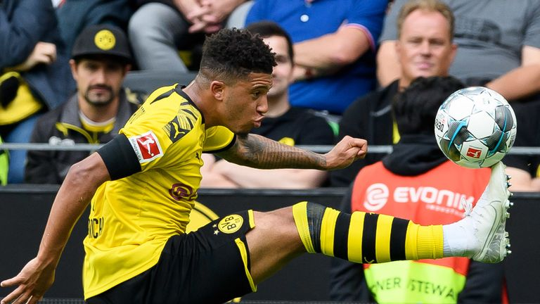 Sancho was on the scoresheet as Dortmund came from behind to beat Augsburg in their opening game of the Bundesliga season