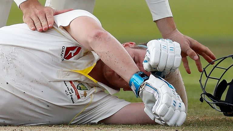 Smith was forced to retire hurt after being hit by a bouncer from Archer