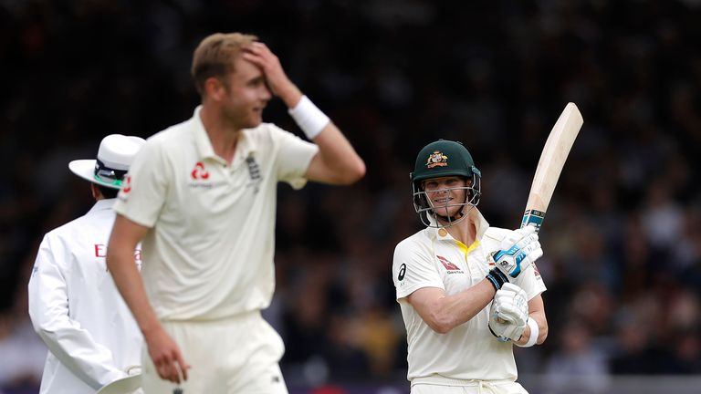 Steve Smith frustrates Stuart Broad on his way to a fifty