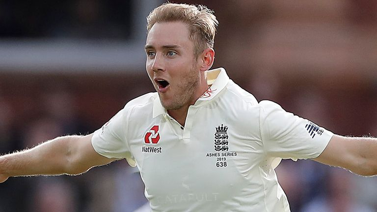 Stuart Broad of England celebrates after taking the wicket of David Warner of Australia during day two of the 2nd Specsavers Ashes Test between England and Australia at Lord's Cricket Ground on August 15, 2019 in London, England.