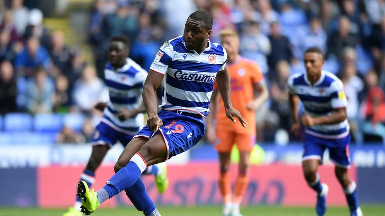 Yakou Meite misses a penalty for Reading in their 3-0 win over Cardiff City in the Sky Bet Championship