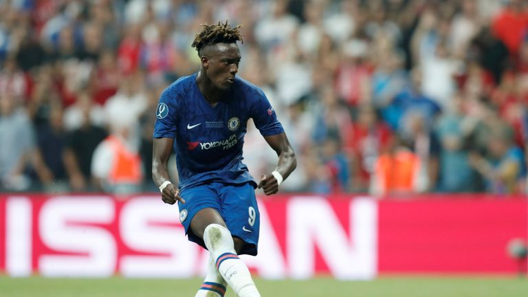 Chelsea's Tammy Abraham misses his spot-kick during the penalty shoot out in the UEFA Super Cup against Liverpool