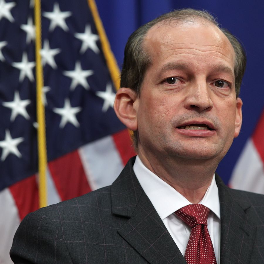 WASHINGTON, DC - JULY 10: U.S. Secretary of Labor Alex Acosta speaks during a press conference July 10, 2019 at the Labor Department in Washington, DC. Secretary Acosta discussed his role in the sexual abuse case of accused sex trafficker Jeffrey Epstein.  (Photo by Alex Wong/Getty Images)