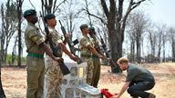 Prince Harry laid a wreath at the memorial for Guardsman Mathew Talbot in Malawi's Liwonde National Park