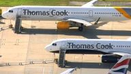Thomas Cook planes at Gatwick airport