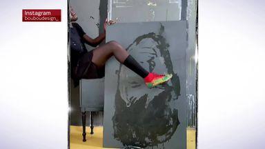 Artist paints Neymar with football boot!