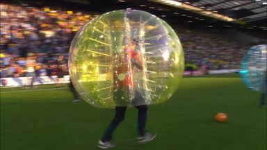 Simon Thomas zorbing for Bloodwise