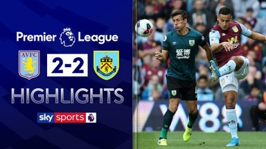 Burnley equalise twice to hold Villa