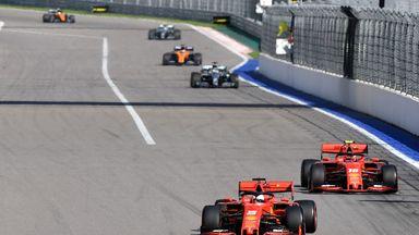 Vettel overtakes Leclerc at start