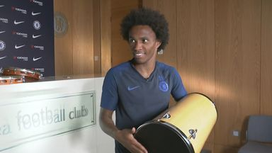 Willian shows off drumming skills